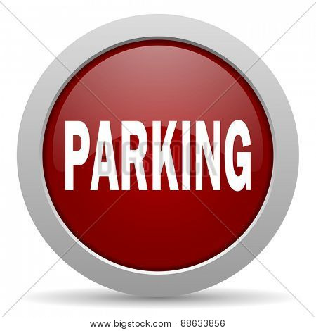parking red glossy web icon