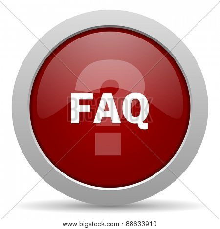 faq red glossy web icon
