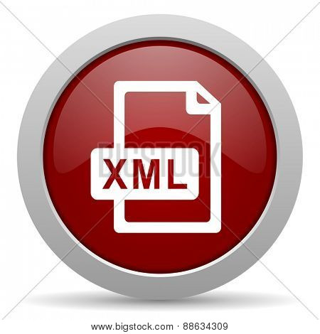 xml file red glossy web icon