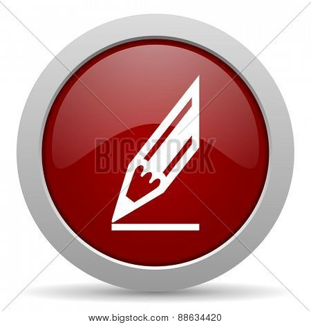 pencil red glossy web icon