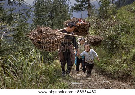 Farmer Carrying Bamboo Baskets On His Shoulders