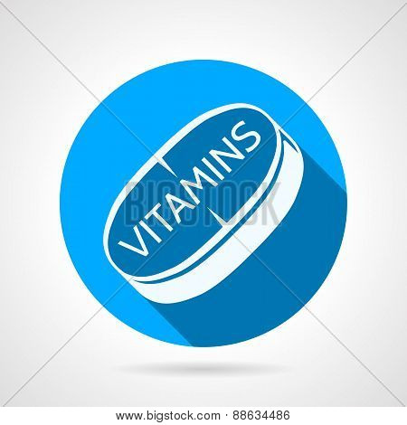 Vitamins tablet flat round vector icon
