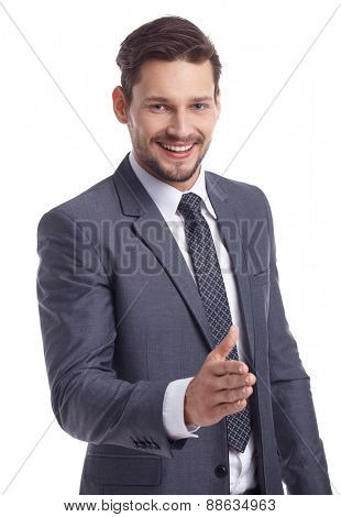 businessman handshake isolated white background
