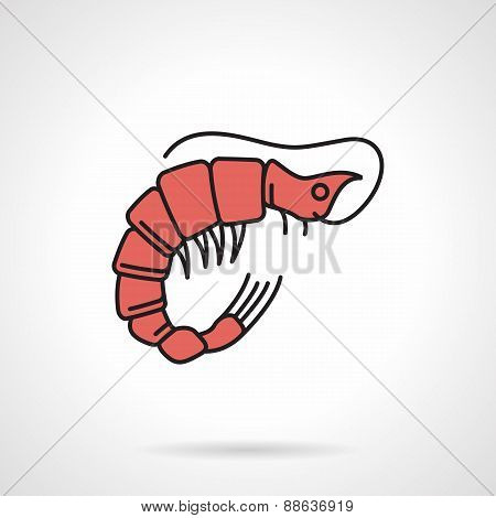 Red shrimp flat vector icon