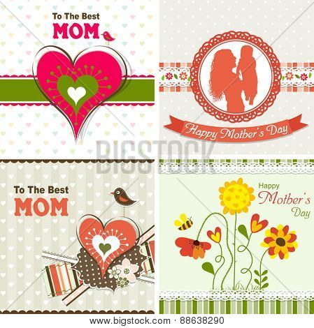 Template greeting card,  mother day, vector illustration