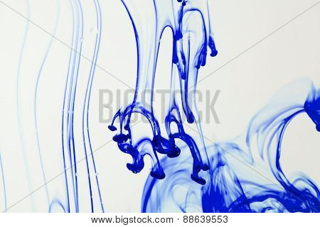 Blue Ink Liquid In Water Making Abstract Forms