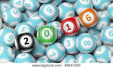 Lucky colorful balls with 2016 numbers on pile