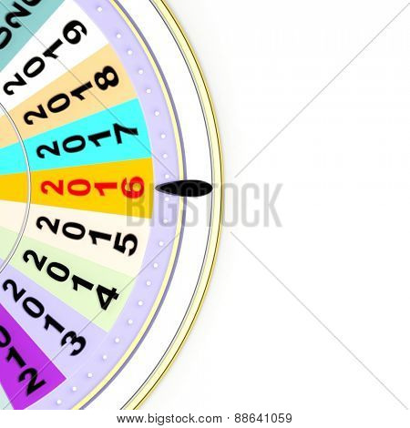 Wheel of fortune with 2016, isolated on white background