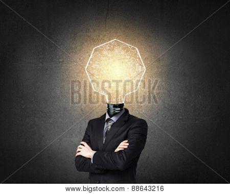 Businessman with light bulb instead of head