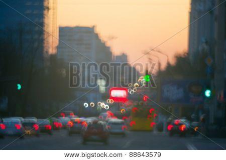 Blurred style taken sunset traffic