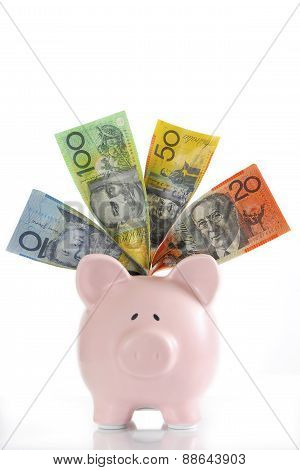 Australian Money With Piggy Bank