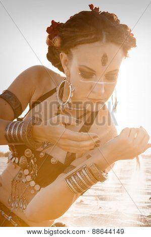 Beautiful Girl Dancing Ethnic Dances