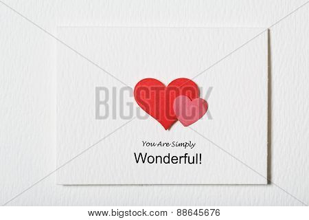 You Are Simply Wonderful White Message Card With Red Hearts