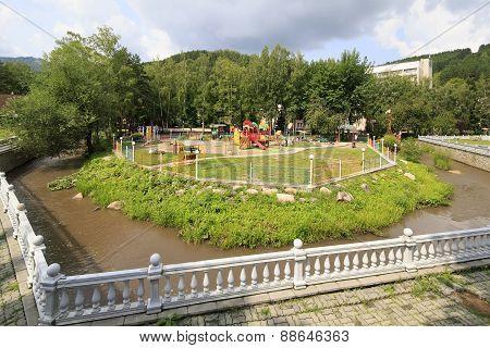 Playground and river Belokuriha.