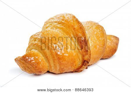 fresh just baked croissant on white background, isolated