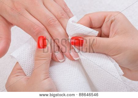 beauty salon, manicure applying, wiping and cleaning
