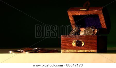 Cute Treasure Chest With Coins