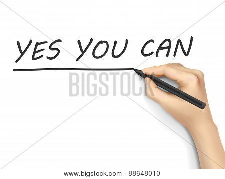 Yes You Can Words Written By Hand