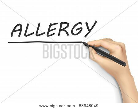 Allergy Word Written By Hand