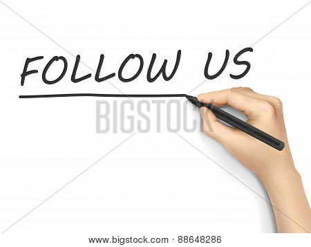 Follow Us Words Written By Hand