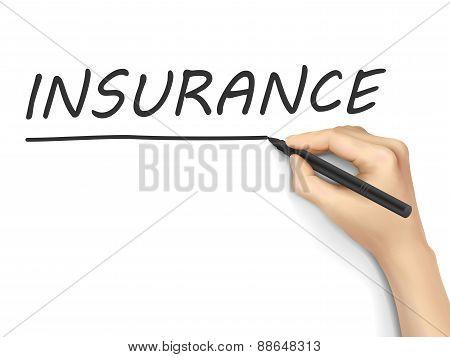 Insurance Word Written By Hand