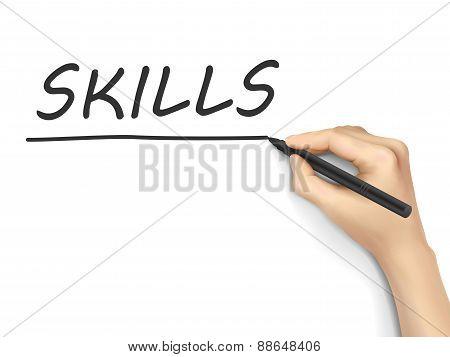 Skills Word Written By Hand