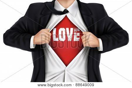 Businessman Showing Love Word Underneath His Shirt