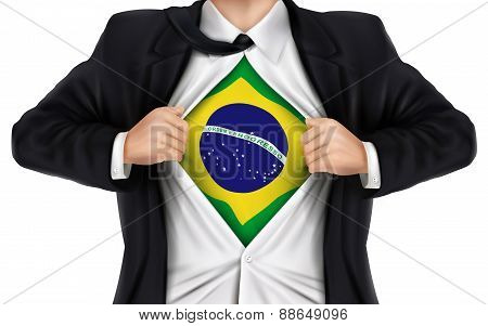 Businessman Showing Brazil Flag Underneath His Shirt
