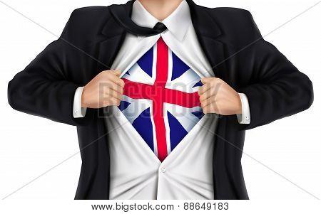 Businessman Showing Great Britain Flag Underneath His Shirt
