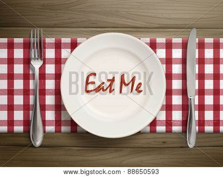 Eat Me Written By Ketchup On A Plate