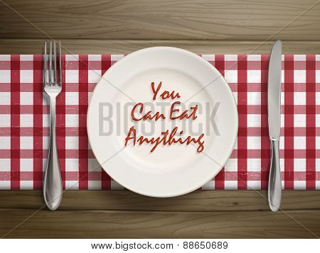 You Can Eat Anything Written By Ketchup On Plate