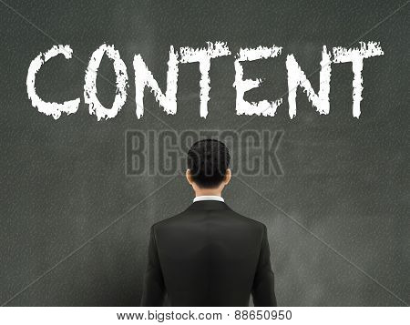 Businessman Looking At Content Word