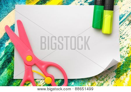 Safe Scissors And Markers On Blank White Paper