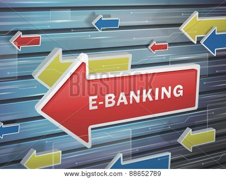 Moving Red Arrow Of E-banking Word