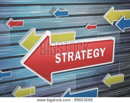 Moving Red Arrow Of Strategy Word