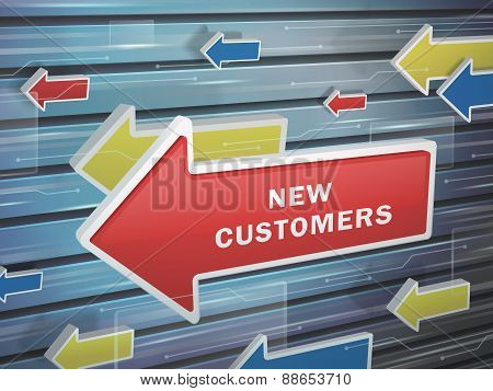 Moving Red Arrow Of New Customers Words