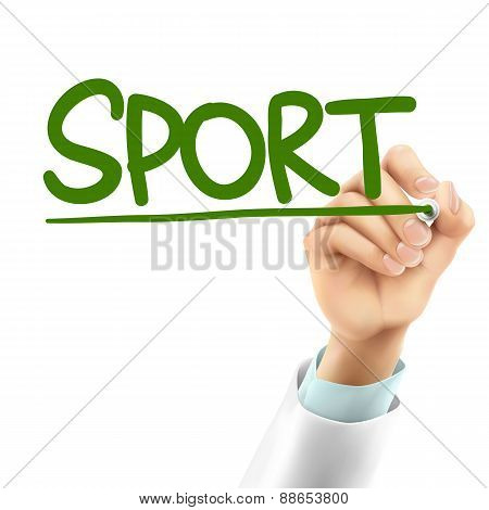Doctor Writing Sport Word