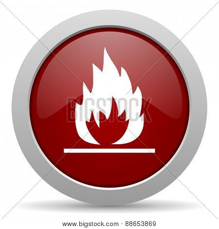 flame red glossy web icon