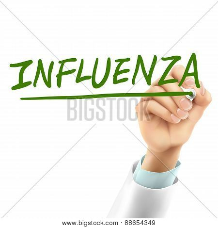 Doctor Writing Influenza Word