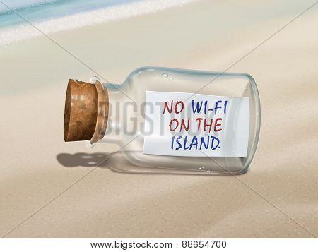 No Wi-fi On The Island Message In A Bottle