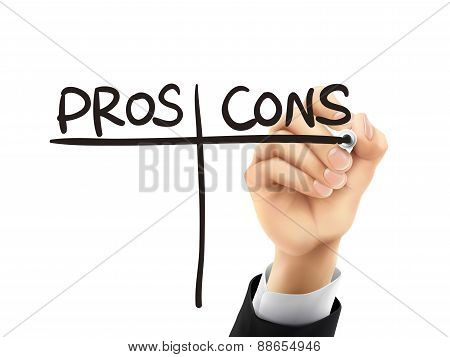 Pros And Cons Written By 3D Hand