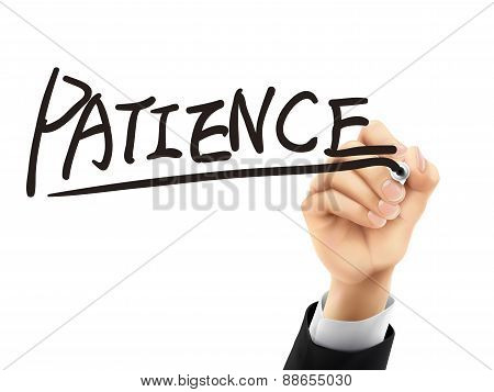 Patience Written By 3D Hand