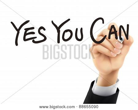 Yes You Can Written By 3D Hand