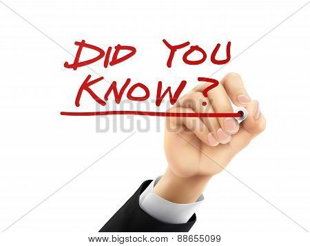 Did You Know Written By 3D Hand