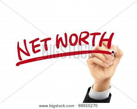 Net Worth Written By 3D Hand
