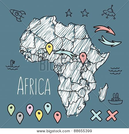 Doodle Africa map on blue chalkboard with pins and extras vector illustration
