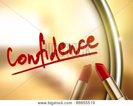 Confidence Word Written By Red Lipstick