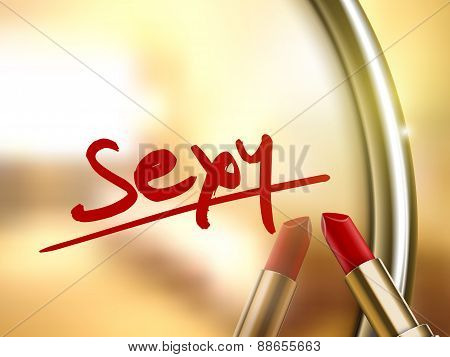 Sexy Word Written By Red Lipstick