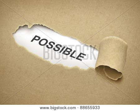 The Word Possible Behind Torn Paper
