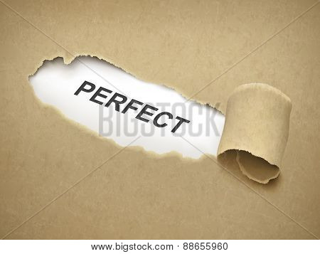 The Word Perfect Behind Torn Paper